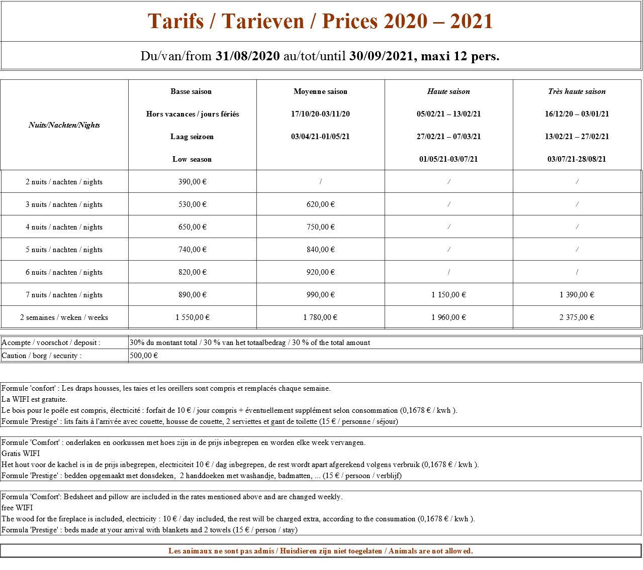 Le tableau des tarifs du gîte