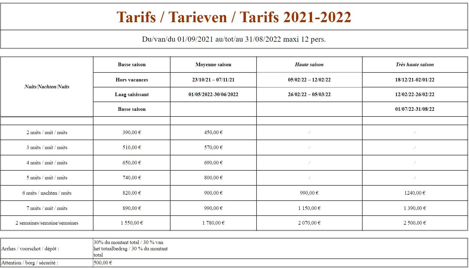 Les tarifs du gîte pour la saison 2021/2022